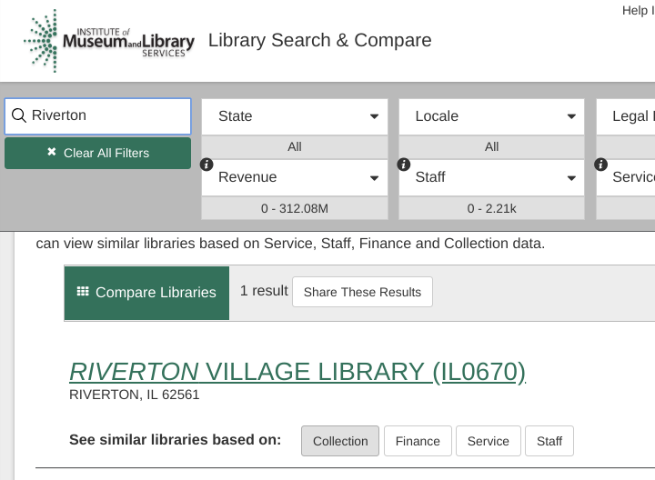 screenshot of IMLS search page