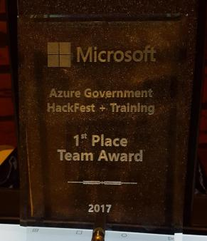 picture of 1st place hackfest plaque